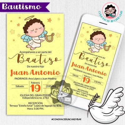 Invitación digital whatsapp bautizo kits imprimibles