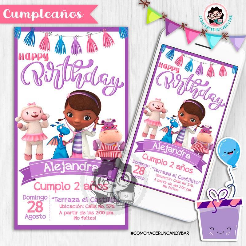 Invitación digital whatsapp Dr. Juguetes kits imprimibles para fiestas
