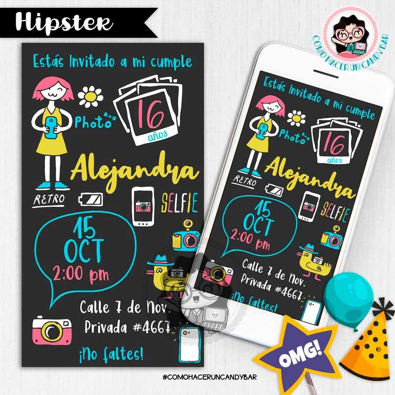 Invitación digital whatsapp hipster kits imprimibles para fiestas