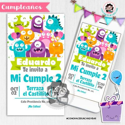 Invitación digital whatsapp monsters kits imprimibles para fiestas
