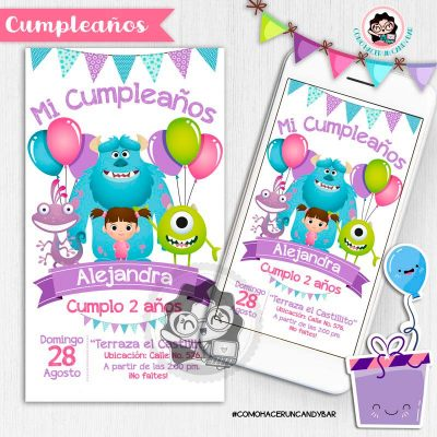Invitación digital whatsapp Monster Inc. kits imprimibles para fiestas