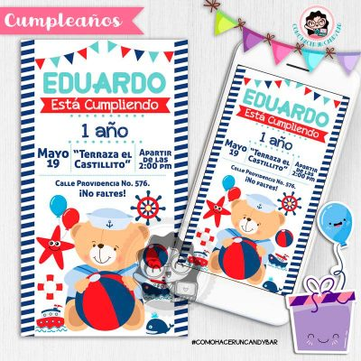 Invitación digital whatsapp Oso marinero kits imprimibles para fiestas