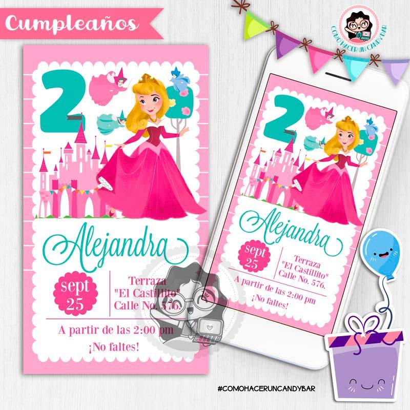 Invitación digital whatsapp princesa Aurora bella durmiente kits imprimibles para fiestas