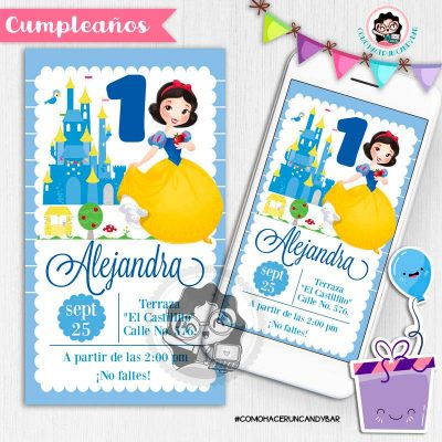 Invitación digital whatsapp princesa Blanca nieves kits imprimibles para fiestas