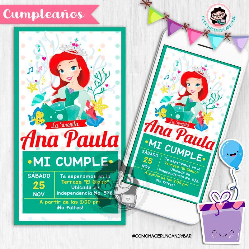 Invitación digital whatsapp princesa Ariel Sirenita kits imprimibles para fiestas