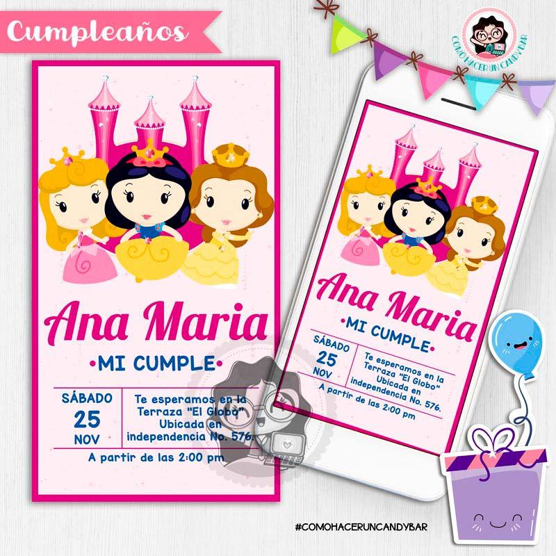 Invitación digital whatsapp princesas baby de disney kits imprimibles para fiestas