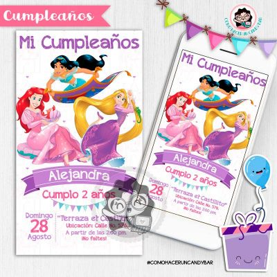 Invitación digital whatsapp princesas de disney kits imprimibles para fiestas