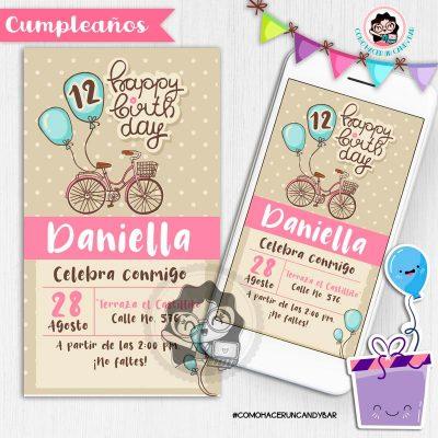 Invitación digital whatsapp cumpleaños vintage kits imprimibles para fiestas