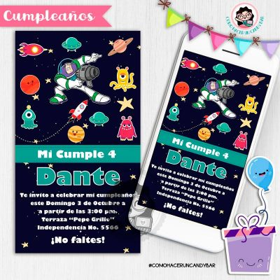 Invitación digital whatsapp Toy story buzz kits imprimibles para fiestas