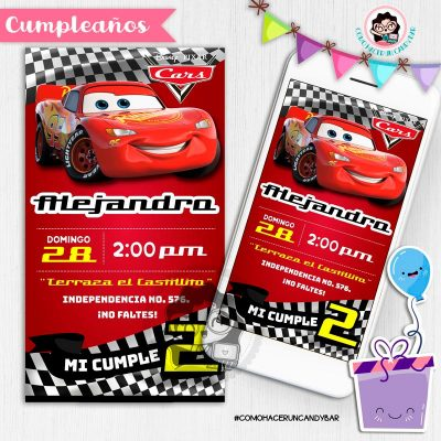 Invitación digital whatsapp Cars kits imprimibles para fiestas