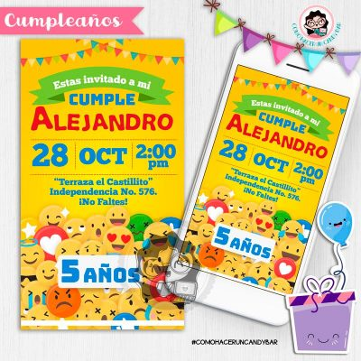 Invitación digital whatsapp emoji kits imprimibles para fiestas