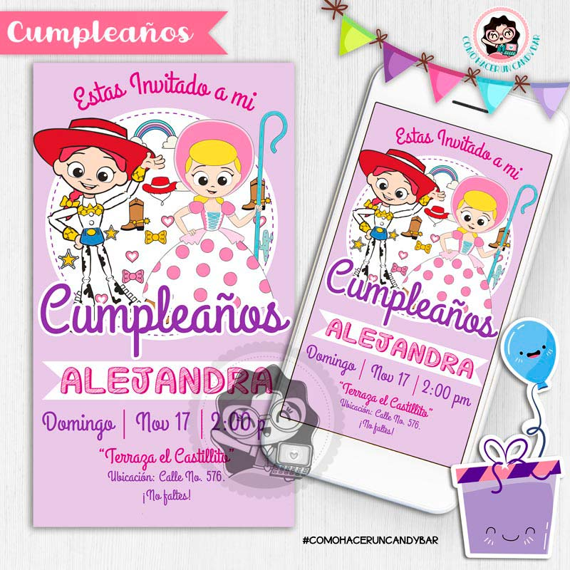 Invitación digital whatsapp toy story kits imprimibles para fiestas