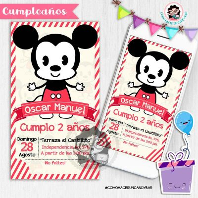 Invitación digital whatsapp mickey vintage kits imprimibles para fiestas