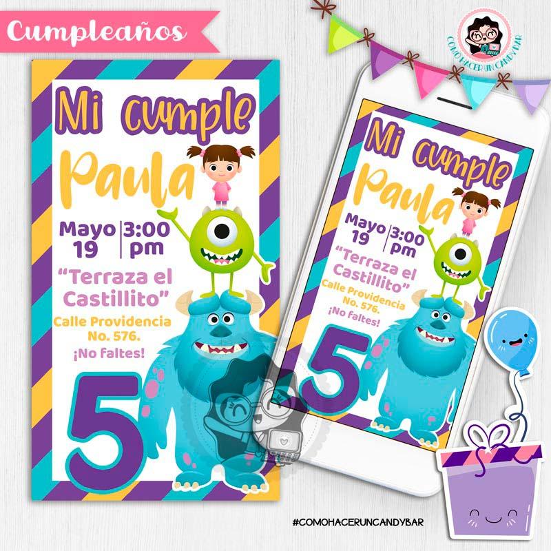 Invitación digital whatsapp monster inc. kits imprimibles para fiestas