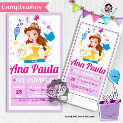 Invitación digital whatsapp la bella y la bestia kits imprimibles para fiestas