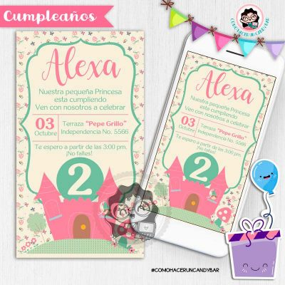 Invitación digital whatsapp princesa kits imprimibles para fiestas