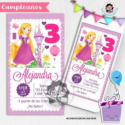 Invitación digital whatsapp princesa rapunzel kits imprimibles para fiestas