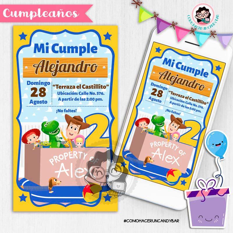 Invitación digital whatsapp Toy story kits imprimibles para fiestas