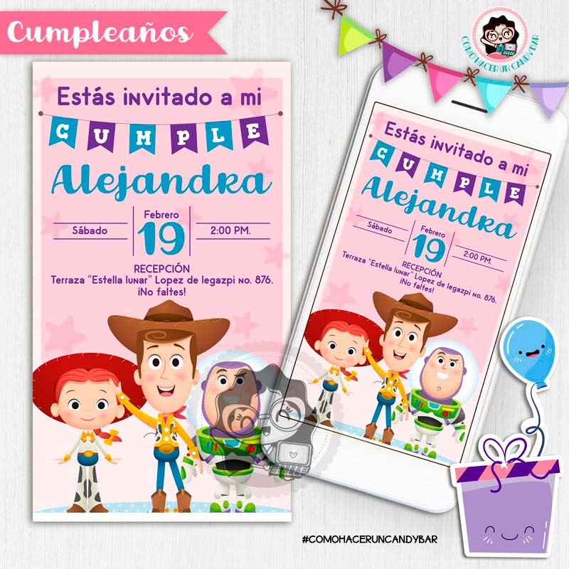 Invitación digital whatsapp Toy story woody, jessie y buzz kits imprimibles para fiestas