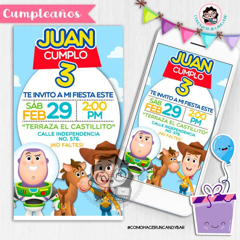 Invitación digital whatsapp Toy story woody y buzz kits imprimibles para fiestas