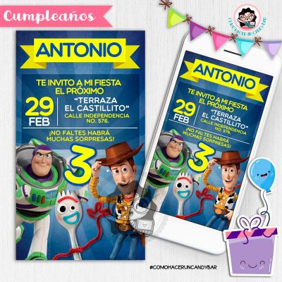 Invitación digital whatsapp Toy story woody, buzz y forky kits imprimibles para fiestas