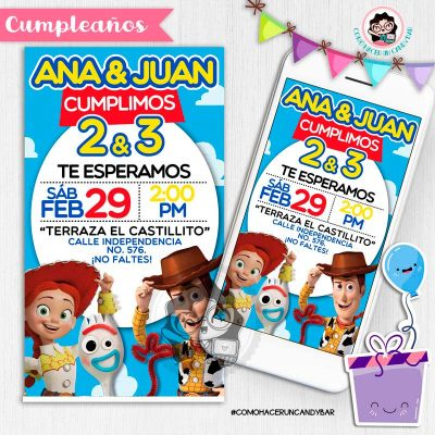 Invitación digital whatsapp Toy story woody, jessie y forky kits imprimibles para fiestas
