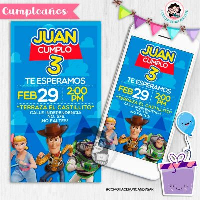 Invitación digital whatsapp Toy story woody y buzz kits imprimibles para fiestas