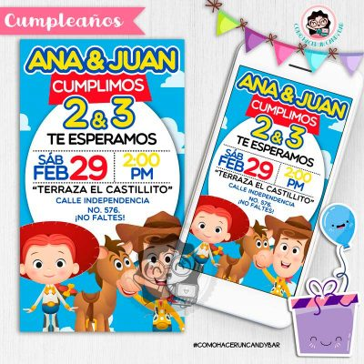 Invitación digital whatsapp toy story woody y jessie kits imprimibles para fiestas