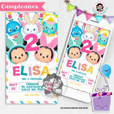 Invitación digital whatsapp tsum tsum kits imprimibles para fiestas