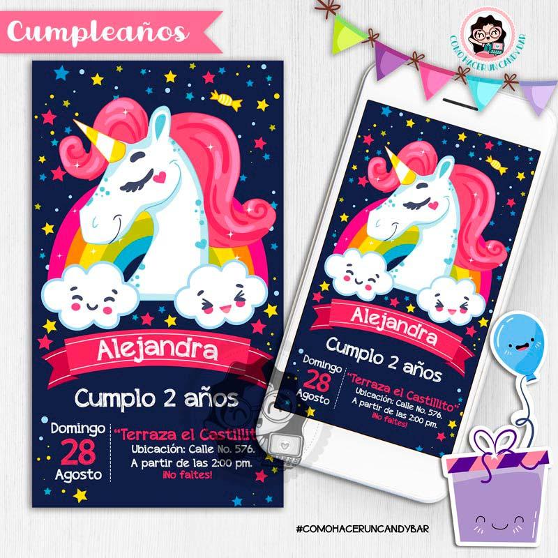 Invitación digital whatsapp unicornio kits imprimibles para fiestas