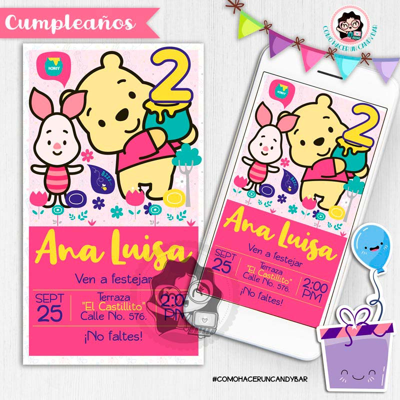 Invitación digital whatsapp winnie pooh kits imprimibles para fiestas