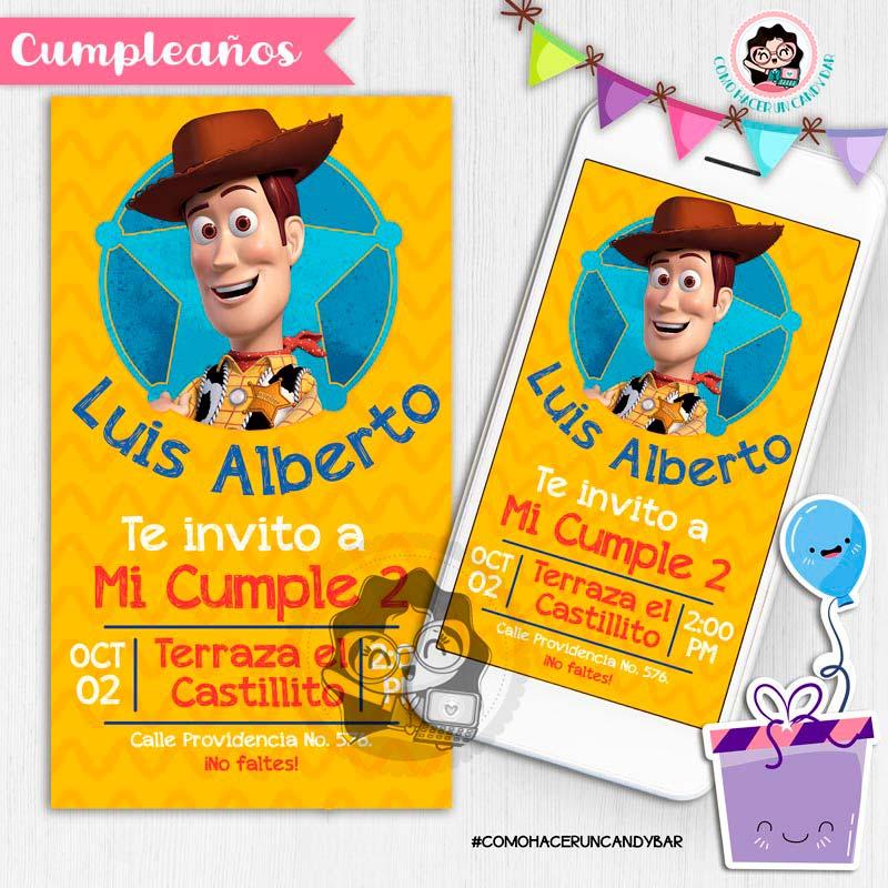 Invitación digital whatsapp woody vaquero toy story kits imprimibles para fiestas