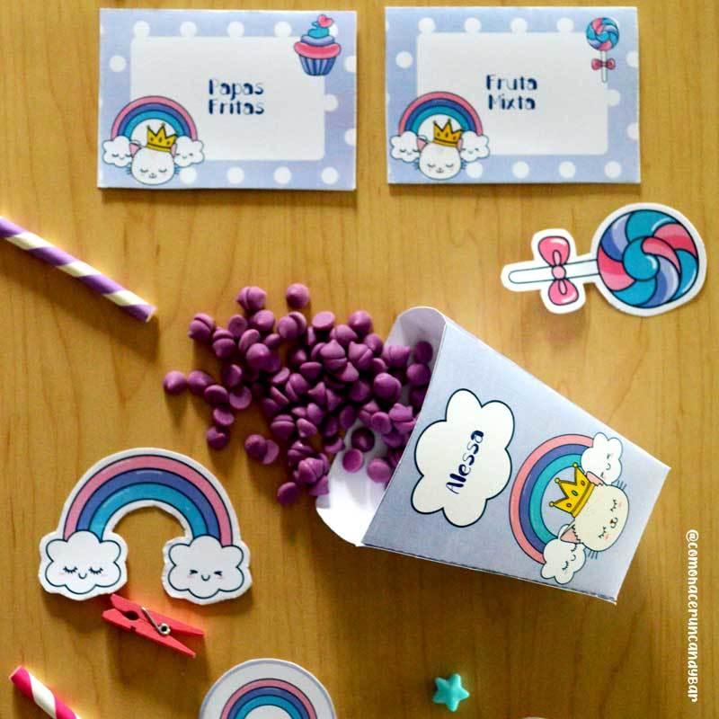 Toppers Diseños Imprimibles Kits de fiesta nubes