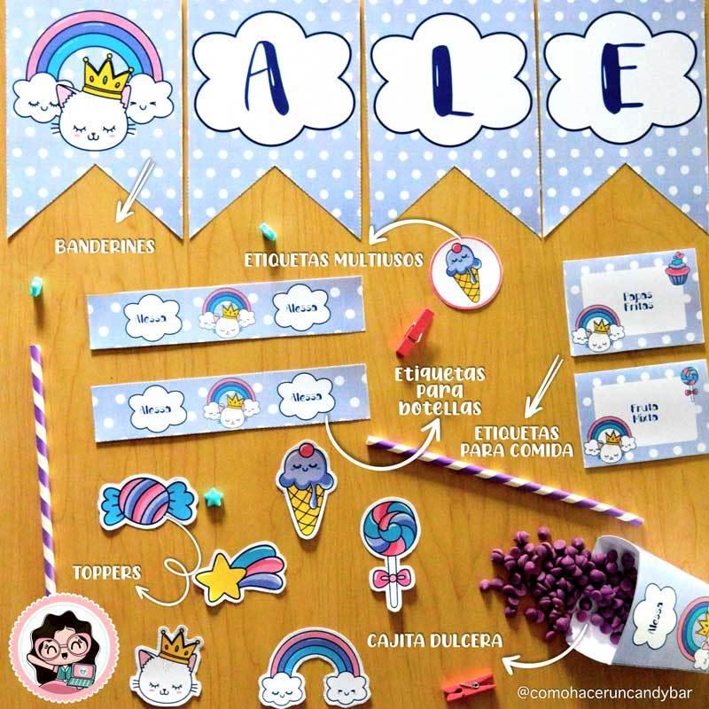banderin Diseños Imprimibles Kits de fiesta nubes