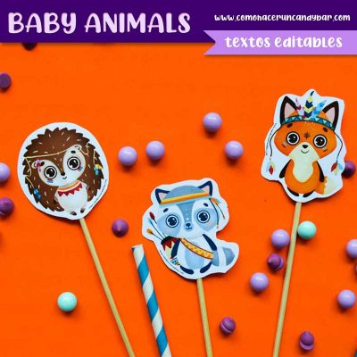 Kit imprimible Baby Shower Animales