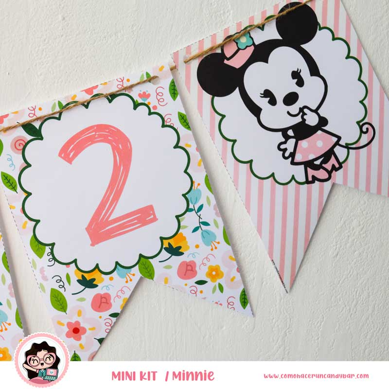 banderín kit imprimible Minnie Mouse