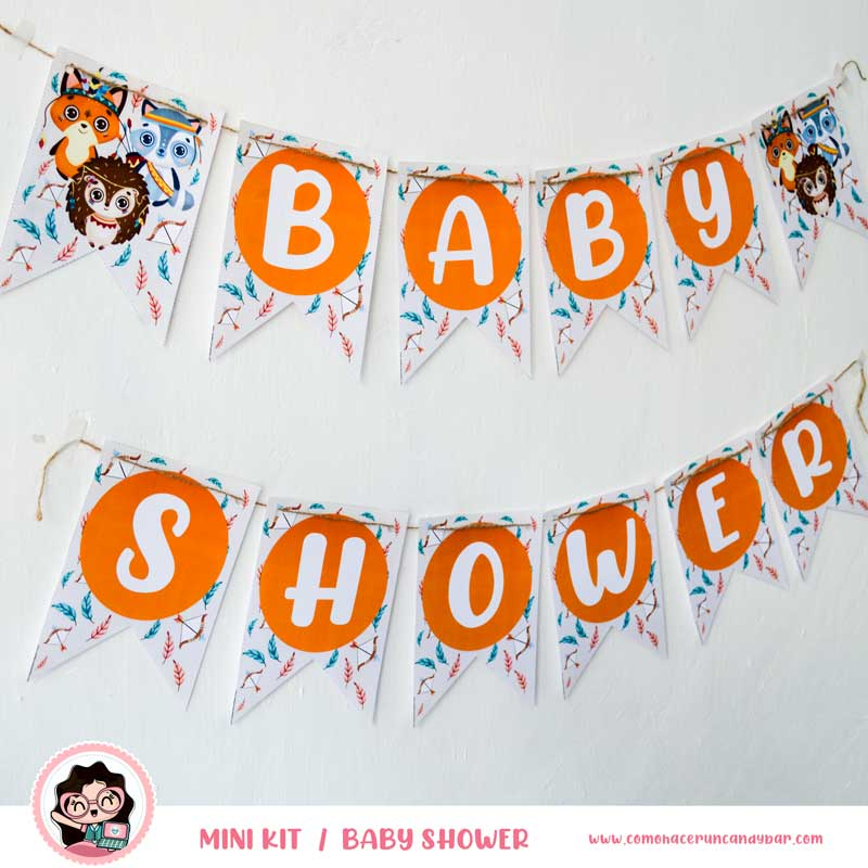Banderín Kit imprimible Baby Shower Animales