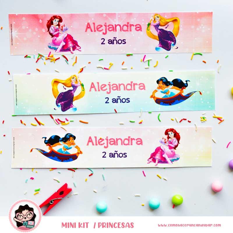 kit imprimible Princesas Disney Etiqueta Botella