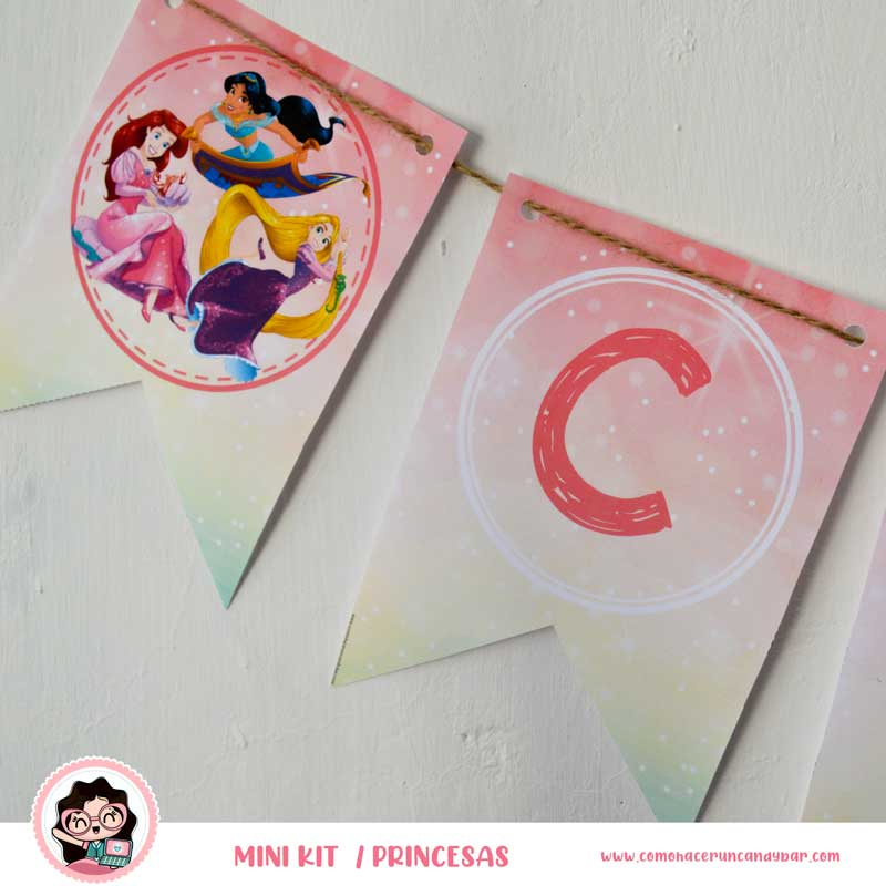 Banderín imprimible Princesas Disney
