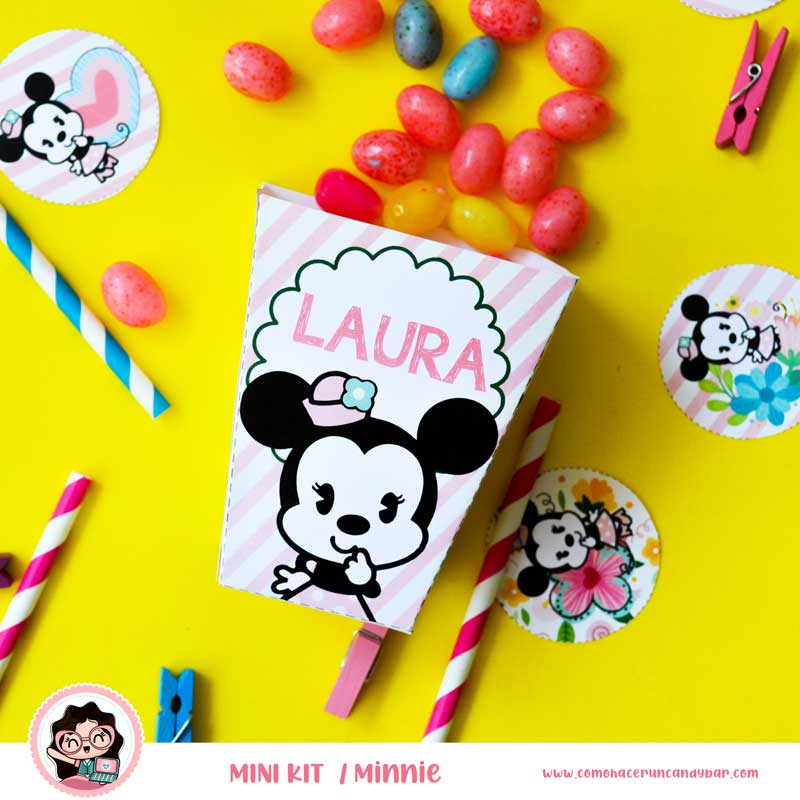 kit imprimible Minnie Mouse Caja
