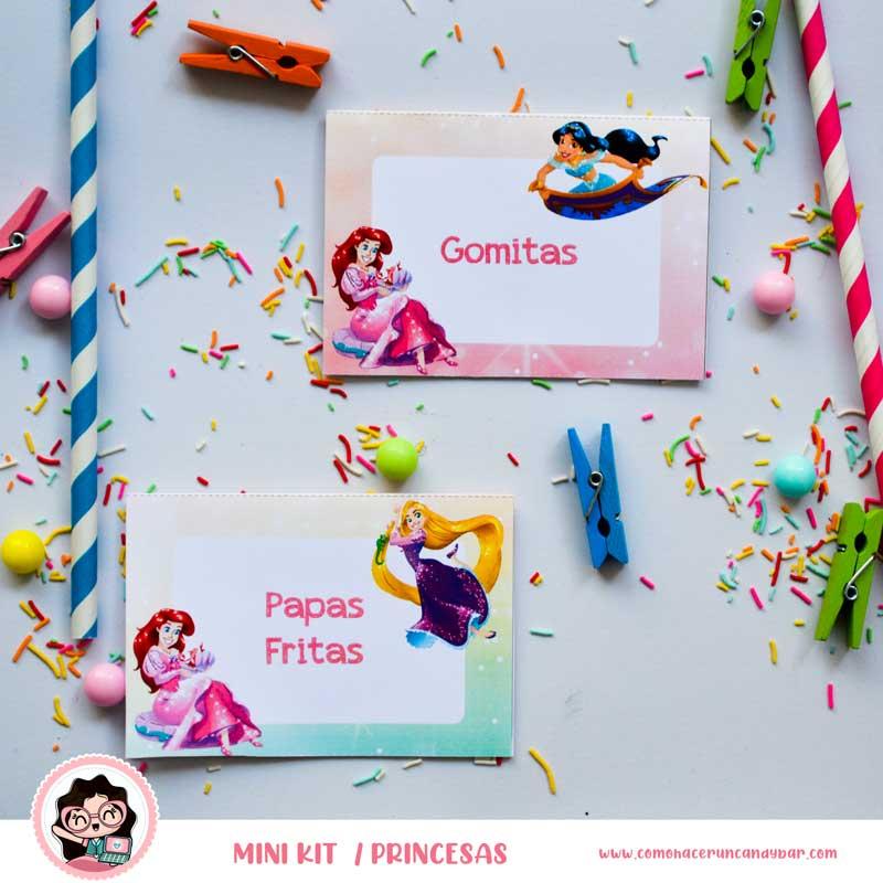 kit imprimible Princesas Disney Letrero