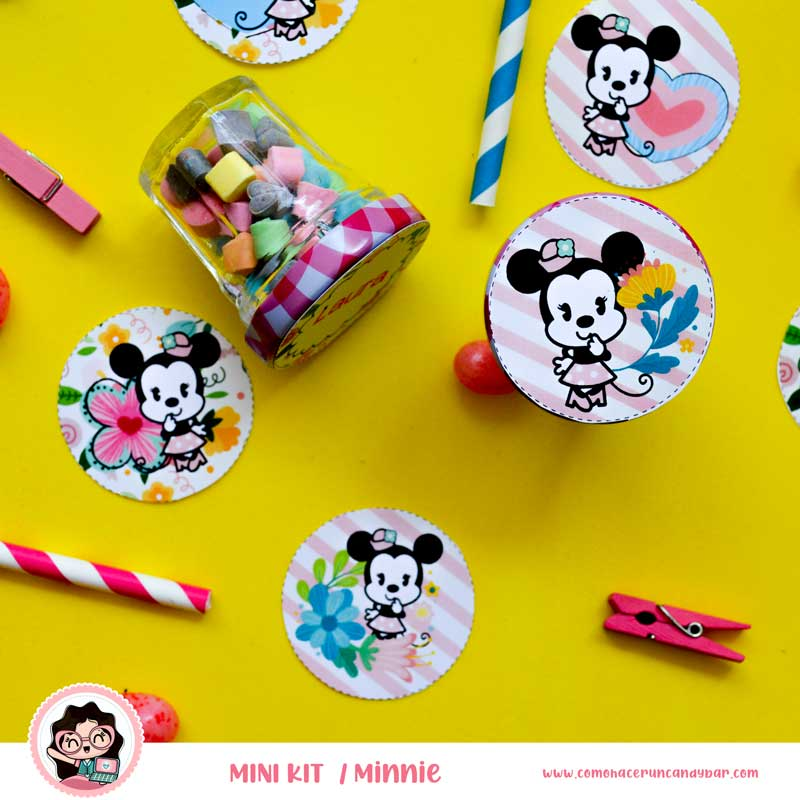 kit imprimible Minnie Mouse etiquetas