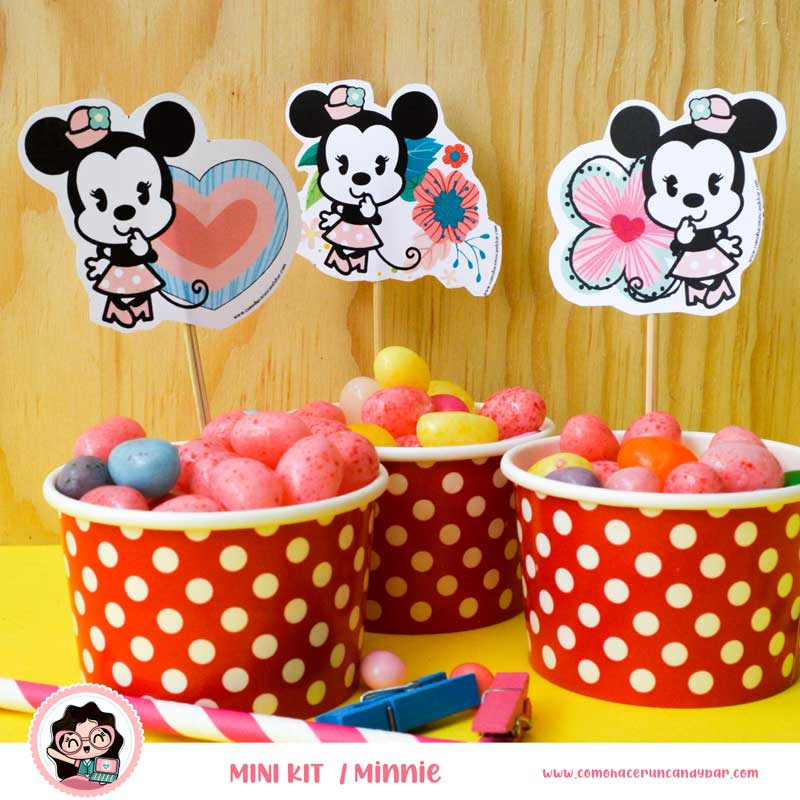 kit imprimible Minnie Mouse toppers