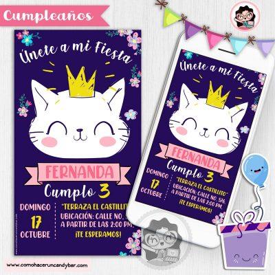 Invitación digital gato rey para whatsapp cumpleaños fiesta kits imprimibles para fiestas