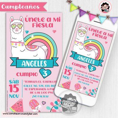 Invitación digital Llama para whatsapp cumpleaños fiesta kits imprimibles para fiestas