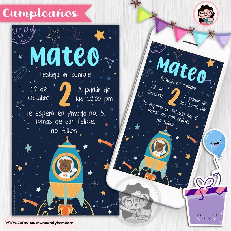 Invitación digital nave espacil para whatsapp cumpleaños fiesta kits imprimibles para fiestas