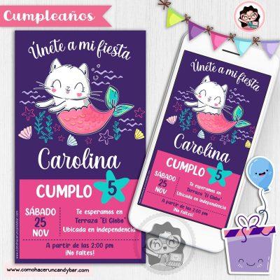 Invitación digital gatito Sirena para whatsapp cumpleaños fiesta kits imprimibles para fiestas