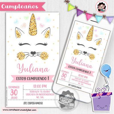 Invitación digital gatito para whatsapp cumpleaños fiesta kits imprimibles para fiestas