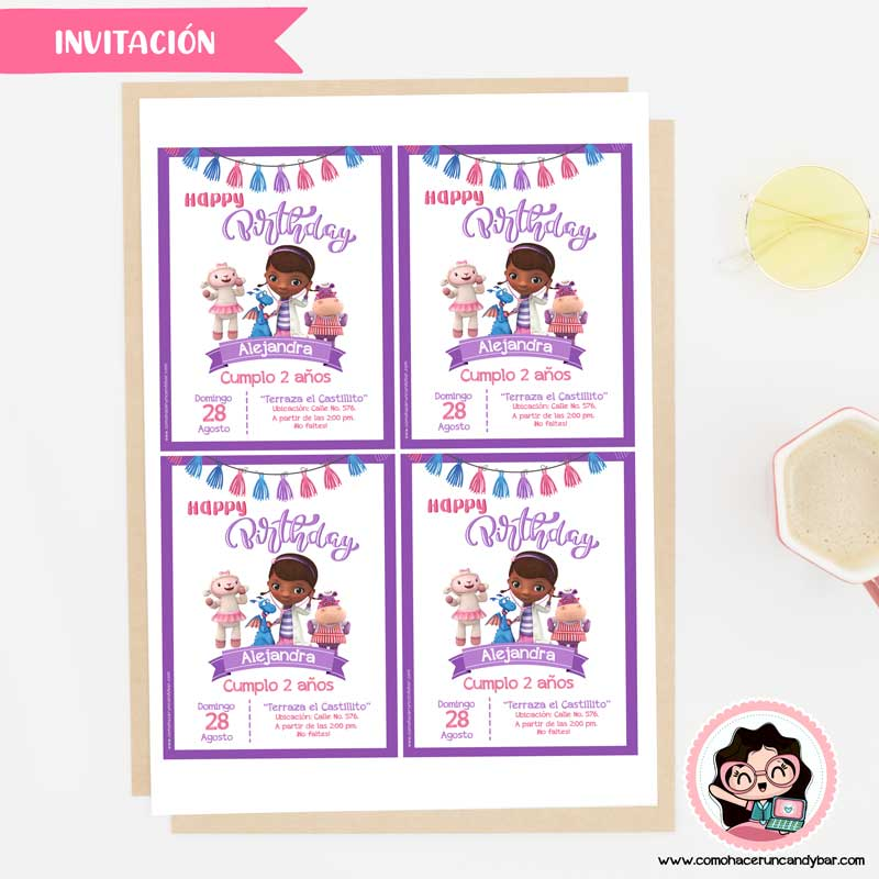 Invitación digital para imprimir Doctora Juguetes