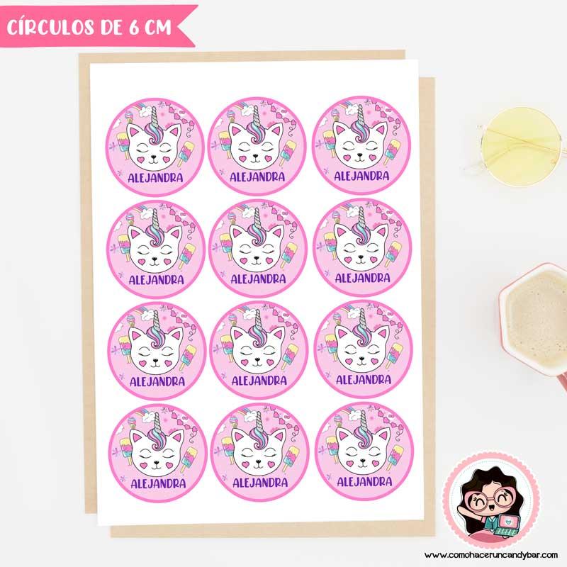stickers digital para imprimir gatito unicornio